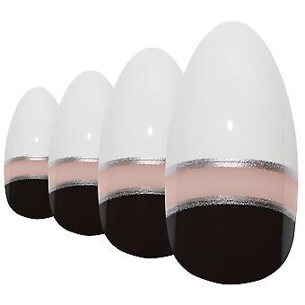 False nails by bling art black white glossy almond stiletto acrylic fake tips