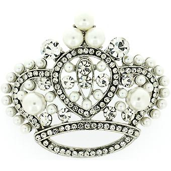 Brocher butik stor Vintage krystal & Pearl Queens Crown broche