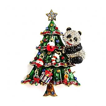Butler  and  Wilson Panda on Christmas Tree Crystal Brooch
