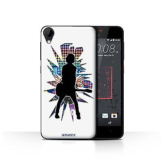 STUFF4 Case/Cover for HTC Desire 825/Emotion White/Rock Star Pose