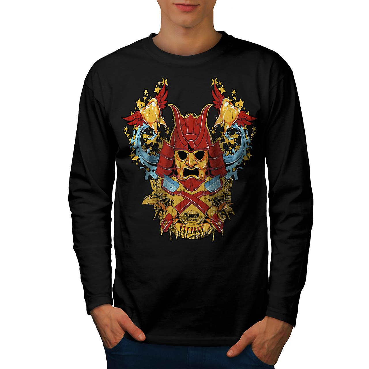 Teeth Cleaner Samurai Warrior Men Black Long Sleeve T-shirt | Wellcoda