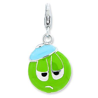 Sterling Silver Rhodium-plated Fancy Lobster Closure Enameled 3-d Sad Face With Lobster Clasp Charm