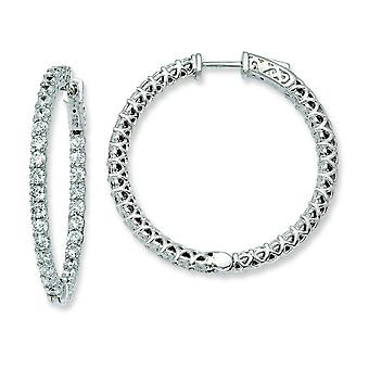 Sterling Silver Rhodium Plated With CZ Hinged Hoop Earrings