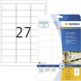 Herma 10903 Labels (A4) 63.5 x 29.6 mm Paper White 675 pc(s) Permanent Adhesive labels (extra strong), All-purpose label