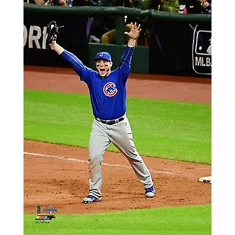 Anthony Rizzo celebrates the final out of Game 7 of the 2016 World Series Photo Print