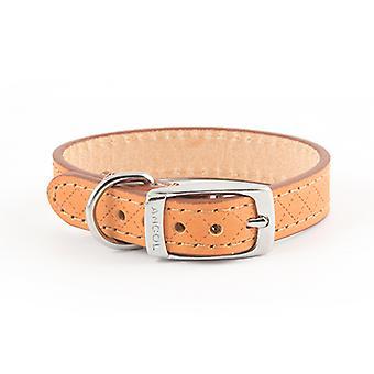 Heritage Diamond Leather Collar Tan Extra Small 16mm X22-26cm