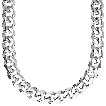 Iced Out Edelstahl CURB Set - Kette & Armband silber