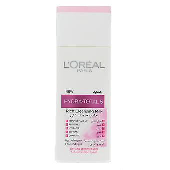 L'Oreal Hydra-Total 5 Rich Cleansing Milk For Dry & Sensitive Skin 200ml