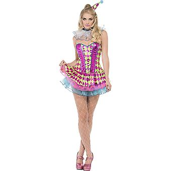 Neon Harlequin clown Lady costume-pink with Tutukleid collar and hat Gr. XS