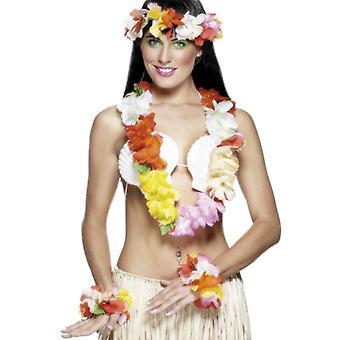 Hawaii-Set Deluxe Mehrfarbig mit Girlande Stirnband und Armband