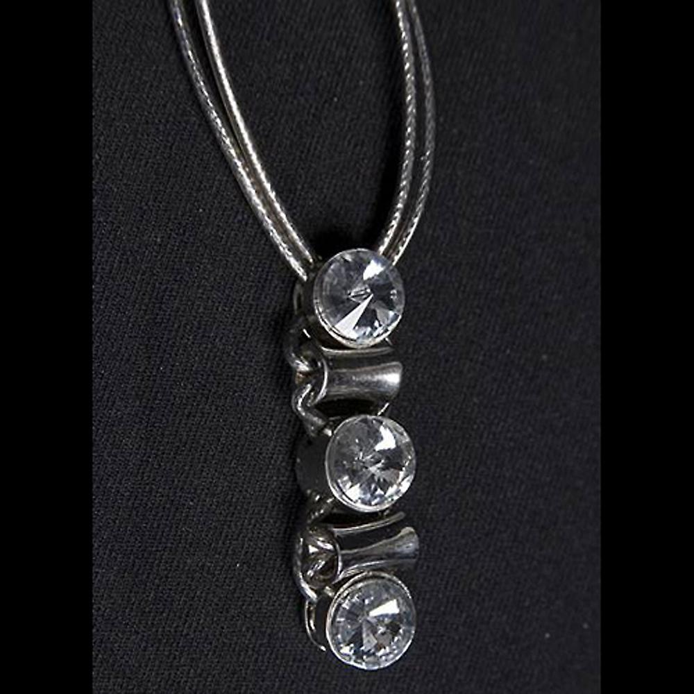 Crystal - Elegant Gothic Statement Crystal Droplet Pendant Necklace - Silver