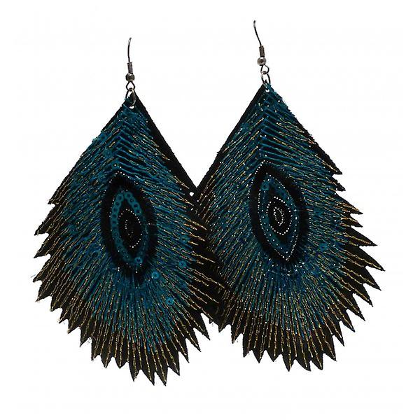 W.A.T Teal Blue Fabric Embroidered Sequin Peacock Feather Style Fashion Earrings