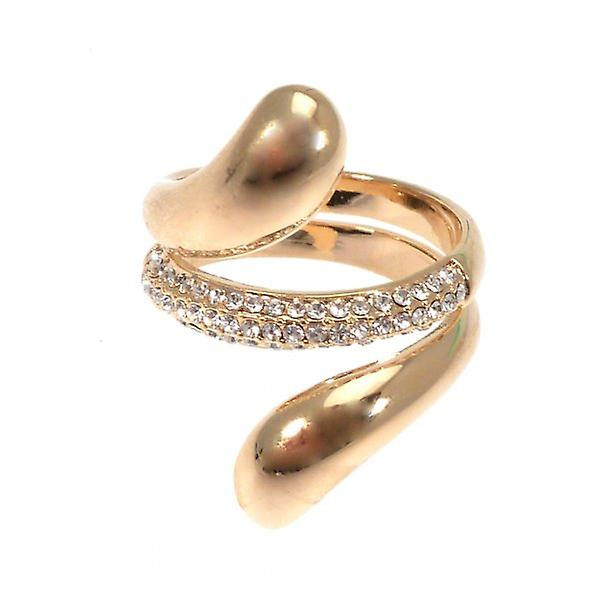 W.A.T Gold Style Sparkling Swirl Ring