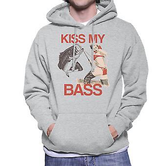 Kus mijn Bass Fishing Pin Up mannen Hooded Sweatshirt