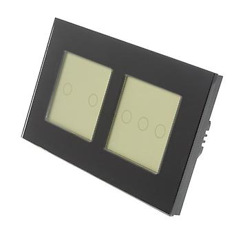 I LumoS Black Glass Double Frame 5 Gang 1 Way WIFI/4G Remote Touch LED Light Switch Gold Insert