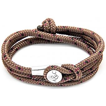 Anchor and Crew Dundee Silver and Rope Bracelet - Brown