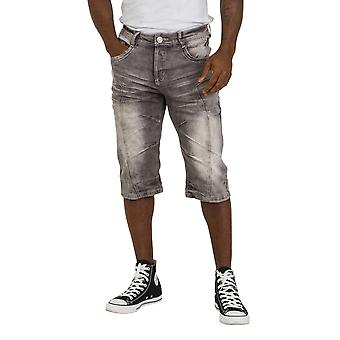 Men's Grey Denim Shorts Knee-length Jeans Shorts
