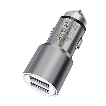 ONX3 (Grey) Quick Charge Dual Port USB Full Aluminium Cased Car Charger Bullet Adaptor (3.1AMP/24W) With Break Glass Safety Hammer For  Xiaomi Mi Mix 2S
