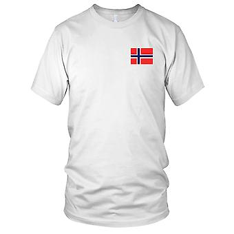 Nationalflagge Norwegen norwegische Land - Stickerei Logo - 100 % Baumwolle T-Shirt Damen T Shirt