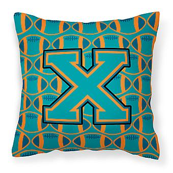 Letter X Football Aqua, Orange and Marine Blue Fabric Decorative Pillow