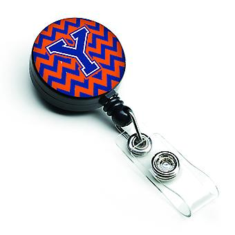 Letter Y Chevron Orange and Blue Retractable Badge Reel