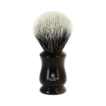 Vie-Long White Badger Hair Brush Black and Cream Swirl