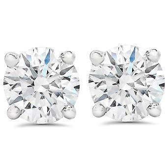 1 1/2 ct Round Round Diamond Studs with Screw Backs 14k White Gold Enhanced