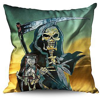Time Reaper Death Skull Linen Cushion 30cm x 30cm | Wellcoda