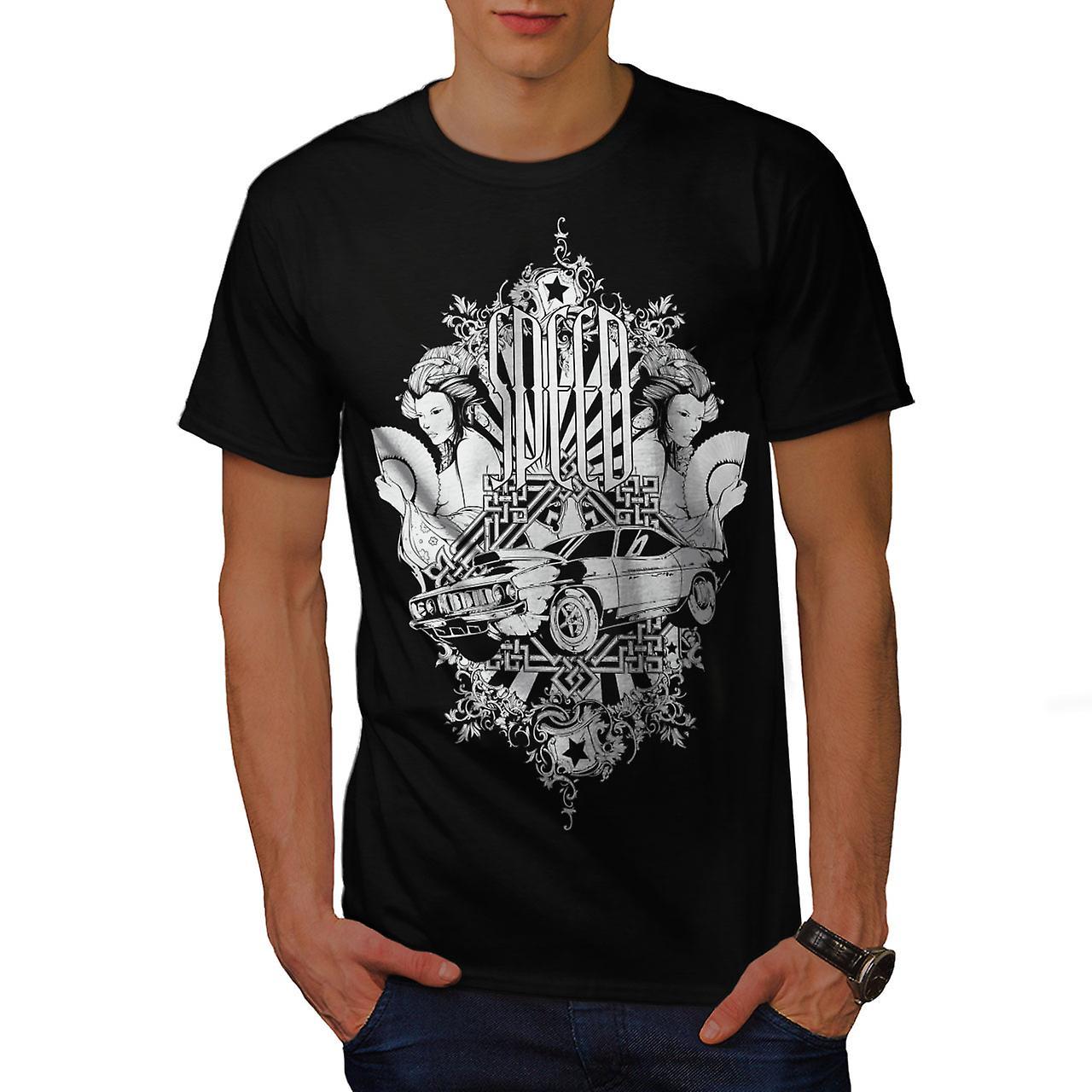 Speed Vintage Girl Car Men Black T-shirt | Wellcoda