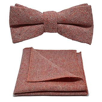Highland Weave Stonewashed Brick Red Bow Tie & Pocket Square Set
