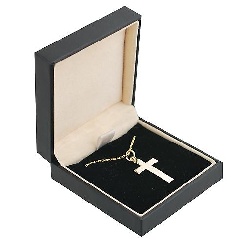 9ct Gold 24x14mm Yellow Cross and White Crucifix with Cable link chain