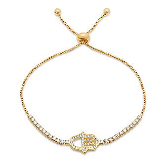 Ladies 18K Gold Plated Brass Simulated Drawstring Bracelet