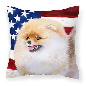 Carolines Treasures  BB9682PW1414 Pomeranian Patriotic Fabric Decorative Pillow