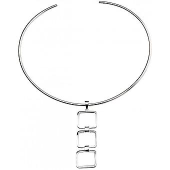Beginnings Triple Cut Out Square Link Pendant - Silver