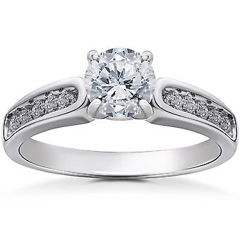 Diamond Engagement Ring 1 1/2 Carat Clarity Enhanced 14K White Gold Channel Set
