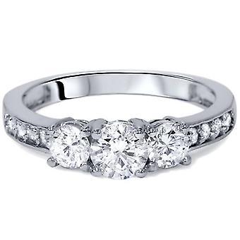 1 1 / 10ct 3 - piedra diamante anillo solitarios 14K blanco oro