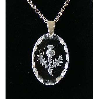 Frosted Oval Thistle Crystal Pendant