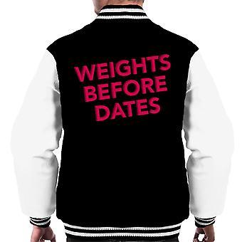 Weights Before Dates Gym Inspiration Men's Varsity Jacket