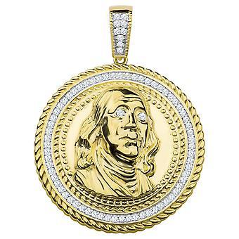 925 Sterling Silber Anhänger - Benjamin Franklin $100 gold