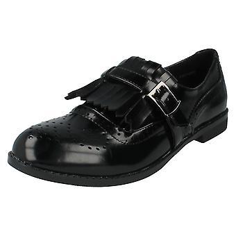 Ladies Spot On Shoes Style F80108 Black Patent Size 6 UK