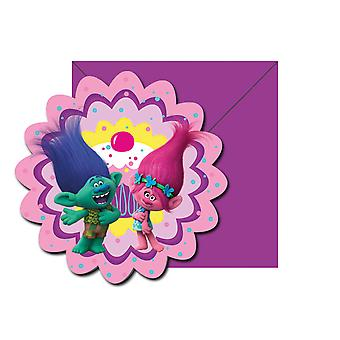 Einladung Invitations Einladungskarte Trolls Kinderparty Geburtstag 6 Stück