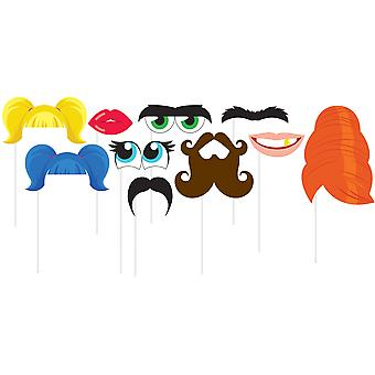 Photo Booth Props 10/Pkg-Face Features