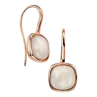 Elements Silver Moonstone Cabochon Drop Earrings - Rose Gold/White
