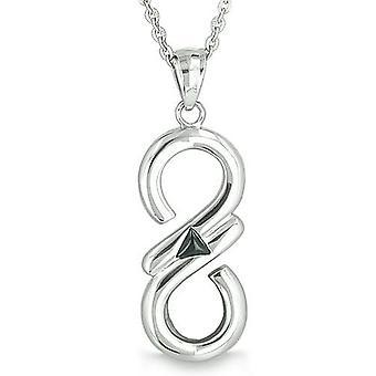 Infinity Mystic Triangle Cosmic Powers Magic Symbol Black Onyx Spiritual Energies Pendant Necklace