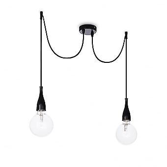 Idéal Lux Minimal 2 Bulb Pendant Light White Opaco