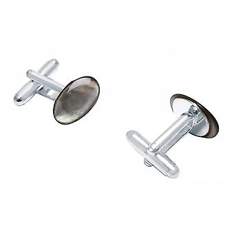 Men - cuff links - 925 Silver - mother of Pearl - Grey - 16 mm