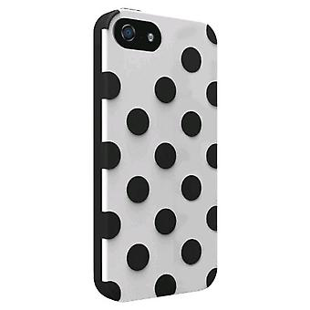 Technocel Polka Dots Dual Protection Shield for Apple iPhone 5 - White/Black