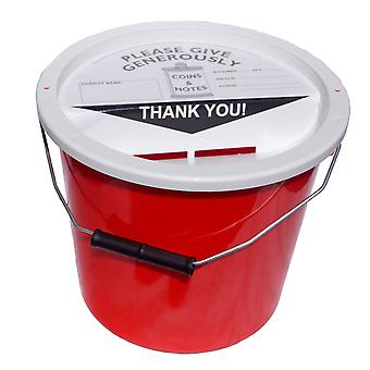 Charity Money Collection Bucket 5.7 Litres - Red