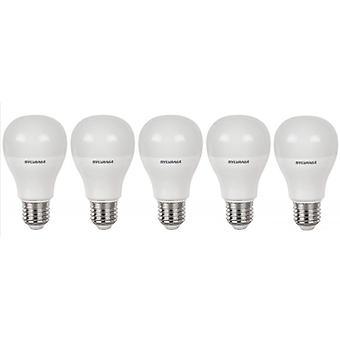 5 x Sylvania GLS A60 10W = 60W LED Light Bulb E27 Warm White 2700K 810lm [Energy Class A+]