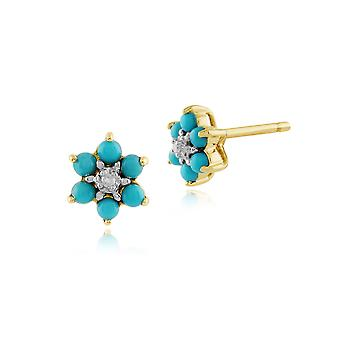 Gemondo 9ct Yellow Gold 0.21ct Floral Turquoise & Diamond Stud Earrings